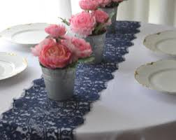 Navy Table L Navy Lace Table Runner 9 Wide 3ft 14ft Length Ends Cut Not