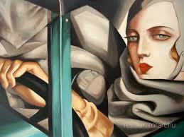Tamara De Lempicka Art by Tamara De Lempicka önarkép Bugattiban Festménymásolat