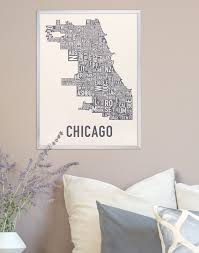 Illinois Blank Map by Chicago Neighborhood Map Poster Original Chicago Neighborhood