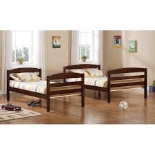 amazon com walker edison twin double solid wood bunk bed brown