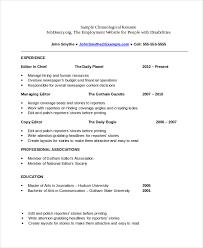 sample of a chronological resume chronological resume template