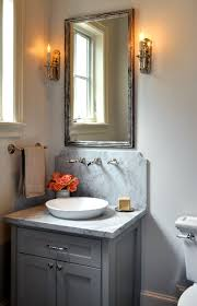 Polished Nickel Vanity Mirror Source Luxe Living Interiors Amazing Powder Room Design With Gray