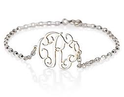 bracelet with initials monogram bracelet sterling silver personalized name
