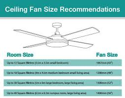 ceiling fan width for room size ceiling fan sizes for rooms www lightneasy net