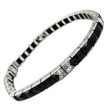 black starr and frost art deco onyx diamond platinum bracelet at
