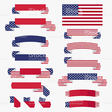 Blue White And Red Flags Red White Blue American Flag Ribbons And Banners Stock Vector Art