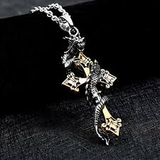 dragon cross necklace images Gold color stainless steel dragon cross pendant necklace punk jpg