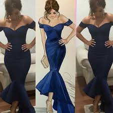 fitted bridesmaid dresses navy shoulder fitted mermaid jersey bridesmaid dress