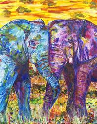 acrylic painting 20160630 elephants ruth burton artist colourful
