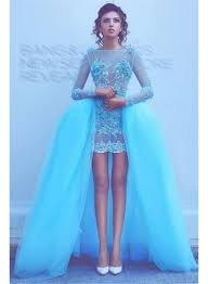 long sleeve blue beads appliques evening dresses with overskirt