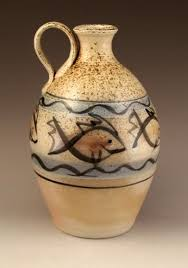 Wood fired fish decorated jug – St Lawrence Pottery