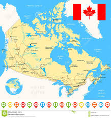 Canada On Map by Canada Detailed Topographic Map Illustration Stock Vector