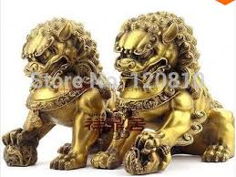 foo dog statues folk classic copper big lion guard pair fenshui foo dog