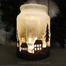 shabby art boutique how to make a christmas township candle jar