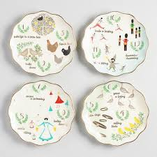 christmas dinnerware 12 twelve days of christmas plates set of 4 world market