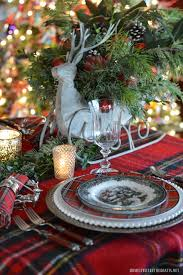 reindeer sleigh tartan table and centerpiece home is