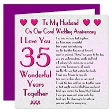 35 wedding anniversary my husband 35th wedding anniversary card on our coral anniversary