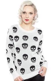 skull sweater psych o skull sweater white sourpuss clothing