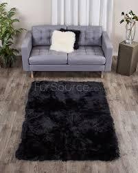 Rug Black Charcoal Black Rectangle Sheep Fur Rug 4ft X 6ft Fursource Com