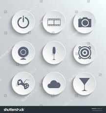 multimedia icons set white round buttons stock illustration