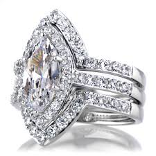 engagement jewelry sets marquise cut cz engagement ring and guard set