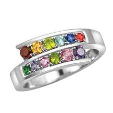 mothers ring 6 stones sterling silver wave of mothers ring 12 birthstones wave