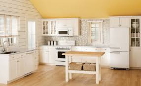 l shape kitchen decoration using white wood siding kitchen walls