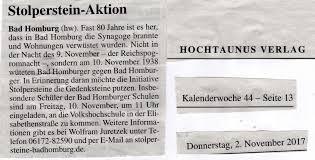 Vhs Bad Homburg Aktuelles Stolpersteine Badhomburg De
