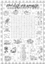 worksheet thanksgiving word search