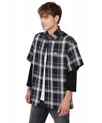 men u0027s loose fit plaid checkered short sleeve button down shirt top