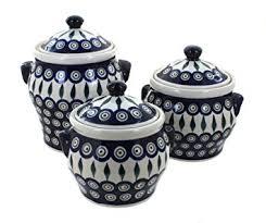 amazon com polish pottery peacock canister set home u0026 kitchen