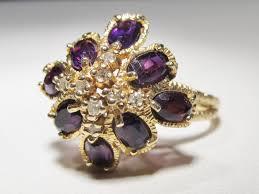 14k gold large diamond amethyst 2 carat estate romany amethyst u0026 diamond ring 14k gold wc 330