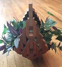 ivy home decor silk plant wood basket decorative natural looking fake ivy home