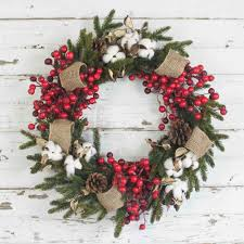 cotton and pine berry wreath 18 inch