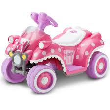 toddler battery car disney 6v battery toy ride on quad by kidtrax minnie mouse