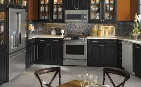 dark kitchen cabinets with black appliances black and orange kitchen photo ge appliances