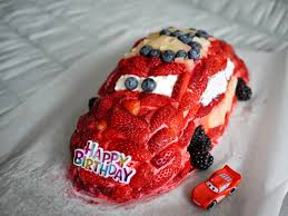 lightning mcqueen cake lightning mcqueen fruit cake for my s third birthday