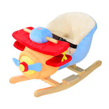 aosom qaba kids plush ride on rocking horse airplane chair with