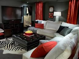 black red and white furniture display objects as the glass door