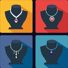 jewelry icons collection various display ornament types vectors