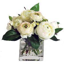 White Roses In A Vase White Ranunculus And Wild Buttons In Square Vase Skaff Floral