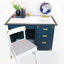 Blue Computer Desk Diy With Style Caign Style Desk Makeover With A Erase Top