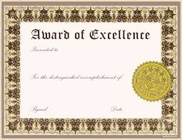 Free Certificate Of Excellence Template Impressive Award Of Excellence Template With Gold St And