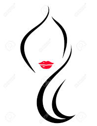 hair salon icon with art woman face silhouette royalty free