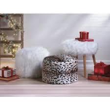 Fuzzy White Ottoman Fuzzy White Ottoman Pouf Ebay
