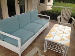 Pallet Patio Furniture Cushions by Furniture White Wooden Outdoor Couch With Back And Armrest Having