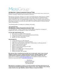 Resume Job Description For Forklift Operator by Cnc Job Description