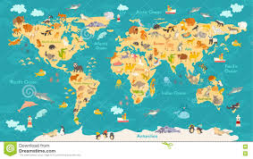 Animal World Map by Cute World Map Roundtripticket Me