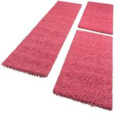 Pink Runner Rug Bedside Runner Rug 3 Part Carpet Runner Set Shaggy Carpet In Pink