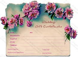 wedding gift card pink wedding gift certificate template